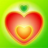 Heart apple. Vector heart apple red symbol on green background can means Eden apple and first human sin of Adam and Eve vector illustration