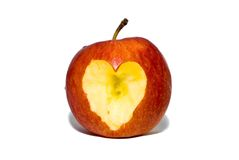 Heart of apple. apple fallen in love. Apple with heart on a white background Royalty Free Stock Images