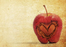Heart apple in old paper notes. Background Stock Image