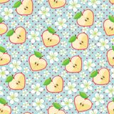 Heart of apples, Apple flowers,polka dot.Seamless. Apple in halves of heart shaped ,polka dot and Flowers on the blue background. Cartoon  ornament, Retro style Royalty Free Stock Images
