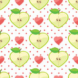 Heart of apples,heart,polka dot in seamless patter. Apple halves heart shaped, heart,polka dot on the black background.Сartoon  Оrnament.Vector seamless Royalty Free Stock Photos