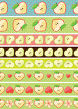 Heart of apples in seamless pattern border Royalty Free Stock Image
