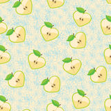 Heart of apples in seamless pattern with flowers Stock Images