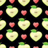 Heart of apples in seamless pattern on hearts back. Apple halves heart shaped and heart on the black background.Сartoon  Оrnament.Vector seamless pattern Stock Photo