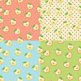 Heart of apples in seamless pattern with polka dot. Apple halves heart shaped on the polka dot background .Seamless pattern set.Retro style. Cartoon  ornament Stock Photos