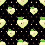 Heart of apples in seamless pattern on seeds backg. Apple halves heart shaped and seeds on the black background.Сartoon  Оrnament.Vector seamless pattern Royalty Free Stock Photo