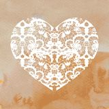 Heart applique on watercolour background Royalty Free Stock Photo