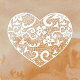 Heart applique on watercolour background Stock Images