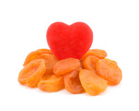 Heart and apricot. Stock Photos