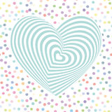 Heart aqua sky blue Optical illusion of 3D three-dimensional volume. pastel colors polka dot background. Vector Stock Photos
