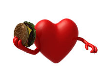 Heart with arms and a hamburger on hand. 3d illustration Royalty Free Stock Photography