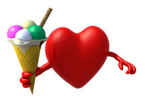 Heart with arms and ice cream. On hand, 3d illustration Royalty Free Stock Photo