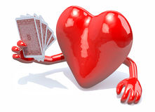 Heart with arms and legs been playing poker. 3d illustration Stock Image