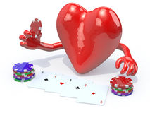 Heart with arms and legs been playing poker. 3d illustration Royalty Free Stock Photo