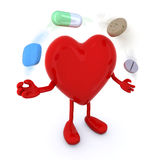 Heart with arms and legs and big pills Stock Images