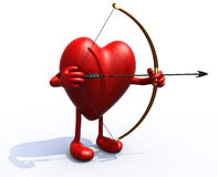 Heart with arms, legs, bow and arrow Stock Photo