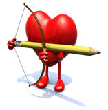 Heart with arms, legs, bow and pencil instead arrow Royalty Free Stock Photo