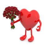 Heart with arms, legs and bunch of roses Royalty Free Stock Image