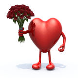 Heart with arms, legs and bunch of roses Royalty Free Stock Photography