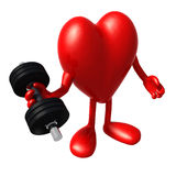 Heart with arms and legs does weight training Stock Image