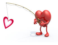 Heart with arms, legs, fishing pole on hand fishing a heart symb. Big heart with arms, legs, fishing pole on hand fishing a heart symbol, 3d illustration Royalty Free Stock Photos