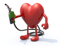 Heart with arms, legs and fuel pump in hand Royalty Free Stock Photography