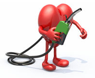 Heart with arms, legs and fuel pump in hand Royalty Free Stock Photo