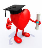 Heart with arms and legs, Graduation Cap and Diploma Royalty Free Stock Photography