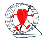 Heart with arms and legs in hamster wheel Stock Photos
