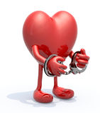 Heart with arms, legs and handcuffs on hands Stock Photo