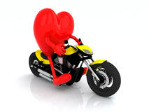 Heart with arms and legs on the motorbike Stock Image
