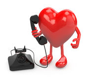 Heart with arms, legs and old phone on hand Stock Photo
