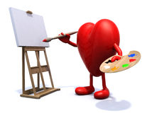 Heart with arms and legs painter Royalty Free Stock Images