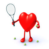 Heart with arms and legs that play tennis Royalty Free Stock Image