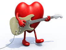 Heart with arms and legs playing electric guitar Royalty Free Stock Photo