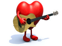Heart with arms and legs playing a guitar Royalty Free Stock Image