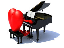 Heart with arms and legs playing a piano Royalty Free Stock Photo