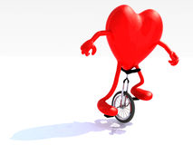 Heart with arms and legs rides a unicycle Stock Photos