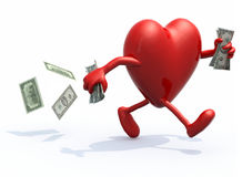 Heart with arms and legs run away with money. Heart with arms and legs run away with dollar notes on hands, 3d illustration Stock Illustration
