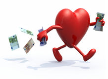 Heart with arms and legs run away with money. Heart with arms and legs run away with euro bank notes on hands, 3d illustration Stock Illustration