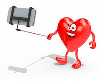 Heart with arms, legs and selfie stick take a self portrait with Stock Photos
