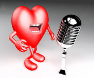 Heart with arms, legs, singing with an old microphone Royalty Free Stock Image