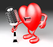 Heart with arms, legs, singing with an old microphone Royalty Free Stock Photos