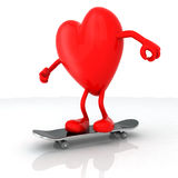 Heart with arms and legs on skateboard Stock Images