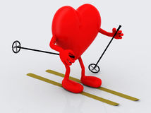 Heart with arms and legs, ski and stick Royalty Free Stock Photo