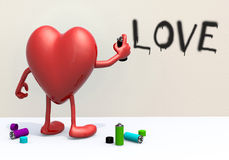 Heart with arms, legs and spray can in hand Royalty Free Stock Images