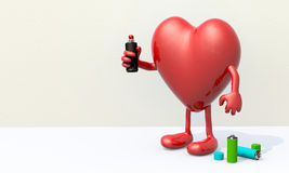 Heart with arms, legs and spray can in hand Royalty Free Stock Photography