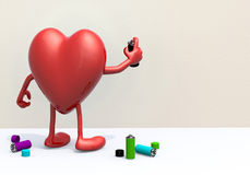 Heart with arms, legs and spray can in hand Royalty Free Stock Photos