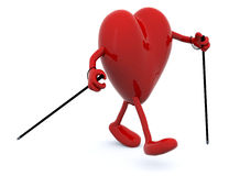 Heart with arms, legs and sticks Royalty Free Stock Photo