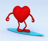 Heart with arms and legs on surf board Royalty Free Stock Photography